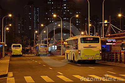 Bus station in Shanghai Editorial Stock Photo