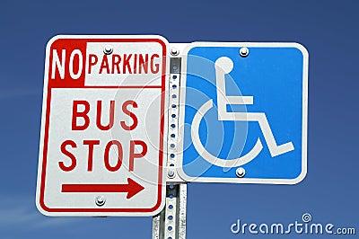 Bus Stop & Handicap signs