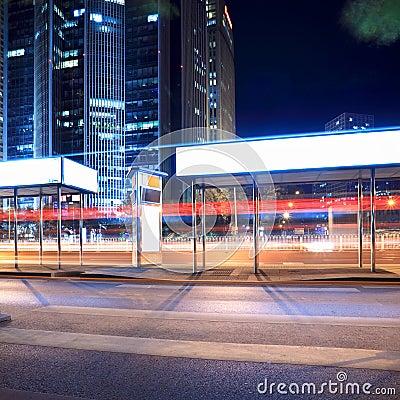 Bus stop at night