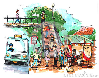 Bus Stop Public Transportation Illustration Stock Images