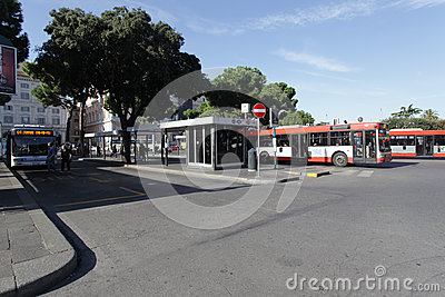 Bus stop in Rome Editorial Stock Image