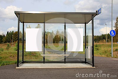 Bus Stop Shelter with Two Blank Billboards
