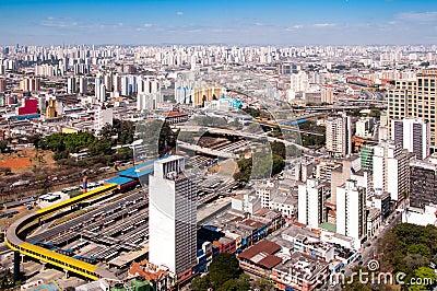 Bus terminal in park Dom Pedro, Sao Paulo