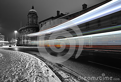 Bus light trail in the dark in the city of Hull