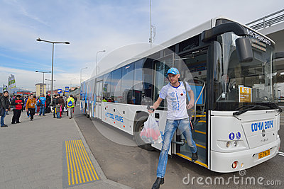 Bus transportation during Sochi Winter Olympics Editorial Photography