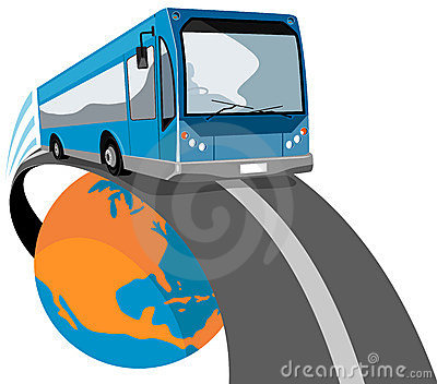 Bus traveling off the globe