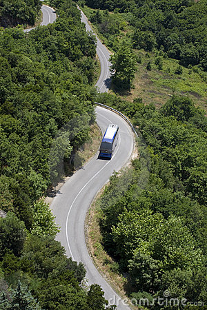Bus on winding road