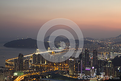 Busan city skyline at sunset