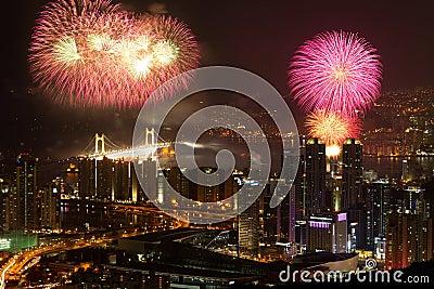 Busan skyline with fireworks