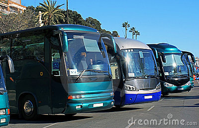 Buses in a parking