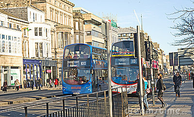 Buses on Princess Street, Edinburgh. Editorial Stock Photo