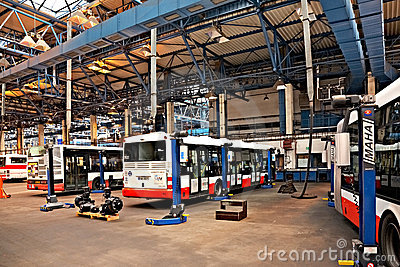 Buses in workshops in Depot Hostivar, Prague Editorial Stock Image