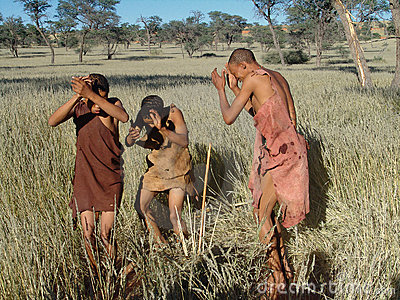 Bushmen hunters in a fields search Editorial Image