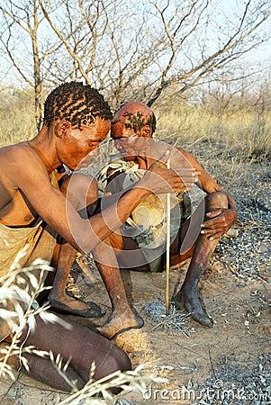 Bushmen making fire Editorial Photography