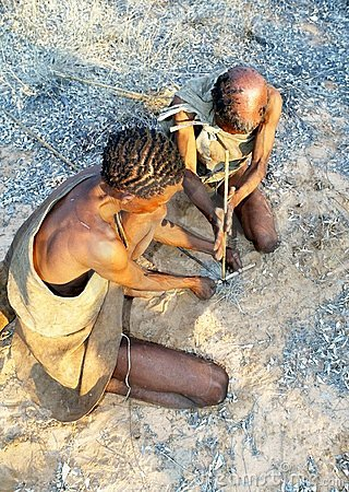 Bushmen making fire Editorial Photo