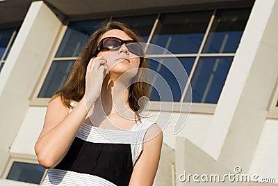 Businees woman speak cellphone