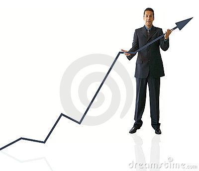 Busines man holding graph