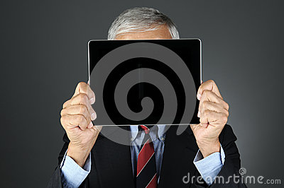 Businesman Behind Tablet Computer