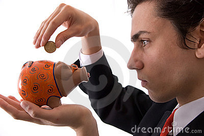 Businesman and your piggy bank