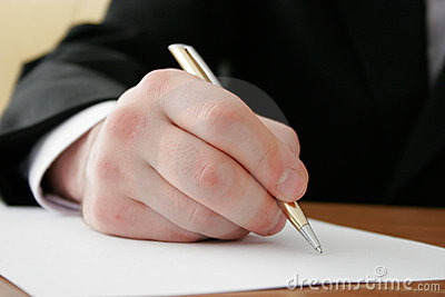 Businessman writing