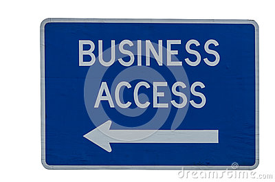 Business Access road directional sign