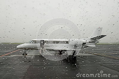 Business air jet parked at airport