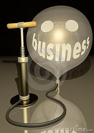 Business air pump blow gold baloon economic smile