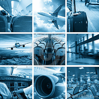 Business airport collage