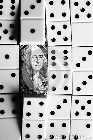 Free Business And Finance Concept - Dominoes And Us Dollar. Stock Images - 101022004