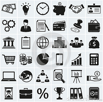 Free Business And Finance Icons. Vector Set. Royalty Free Stock Images - 44599249