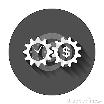 Free Business And Finance Management Icon In Flat Style. Time Is Mone Royalty Free Stock Image - 117123546