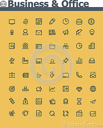 Free Business And Office Icon Set Stock Photo - 35670170