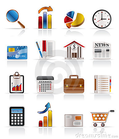 Free Business And Office Realistic Internet Icons Royalty Free Stock Photo - 9948085