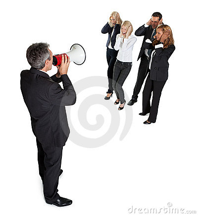Business announcement through loudspeaker on white