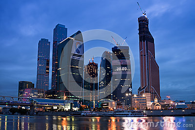 Business area Moscow City. Night view over the riv Editorial Photography