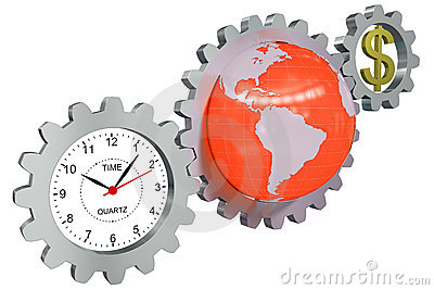 Business arrangement of gears, clock, earth and a