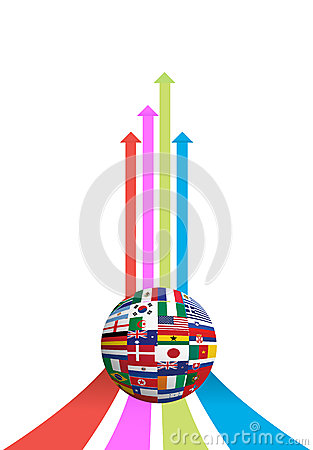 Business arrow and flag globe graph