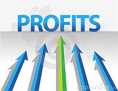 Business arrows target profits illustration