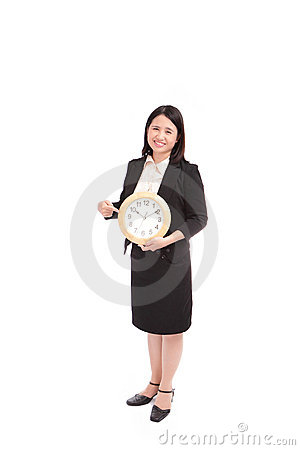 Business asian woman holding clock