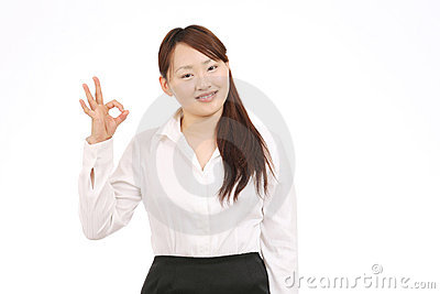 Business asian woman showing okay sign
