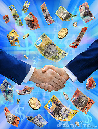 Free Business Australian Money Handshake Deal Royalty Free Stock Photo - 9885105