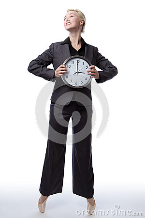 Free Business Ballerina With Clock Royalty Free Stock Image - 68713246