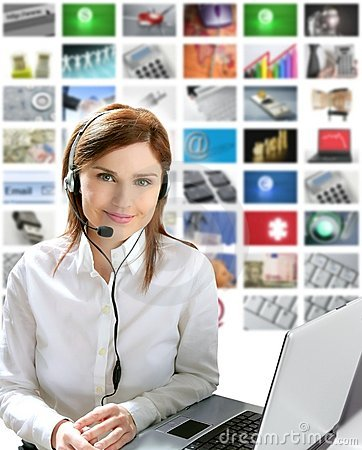 Business beautiful woman headphones tech helpdesk