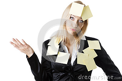 Business blonde woman with dejected expression