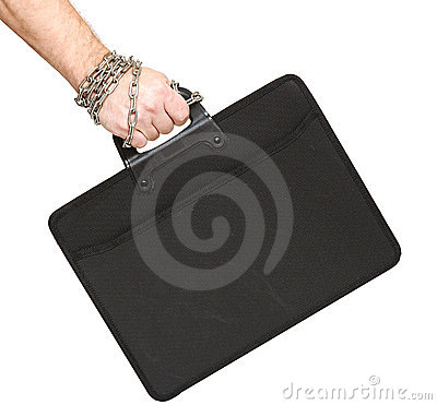 Business briefcase is locked with a chain to hand