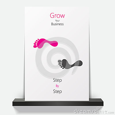Business brochure design with footprint.