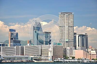 Business building, West Kowloon seaside, Hongkong Editorial Stock Photo