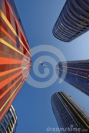 Free Business Buildings And Air Plane, China Royalty Free Stock Photo - 118292065