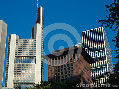 Business buildings  in the financial district of Frankfurt, Germ