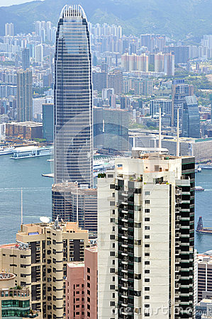 Business buildings near Victoria harbor, Hongkong Editorial Photo